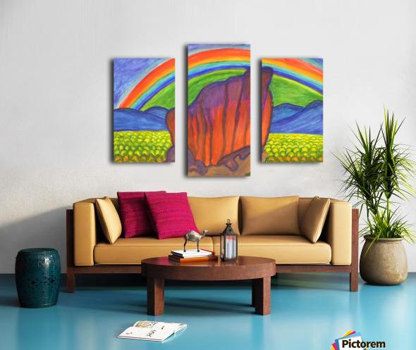 Mystical rock under the rainbow Canvas print