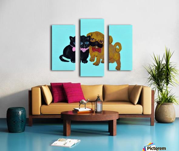 Pugs and Hugs. Erin R Canvas print