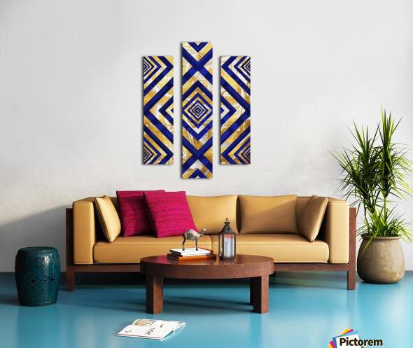 Geometric Gold Dark Blue Marble Canvas print