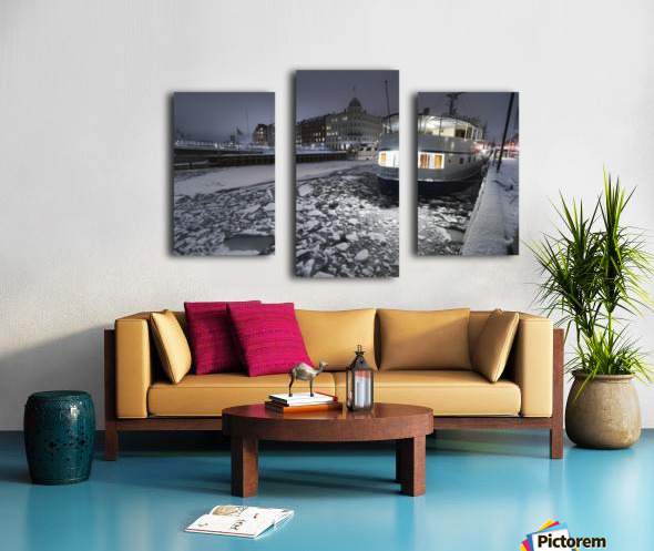 Frozen Nyhavn canal in winter Canvas print