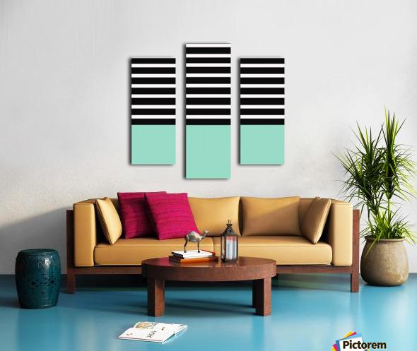 Black & White Stripes with Aquamarine Patch Canvas print