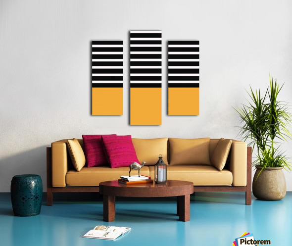 Black & White Stripes with Honey Patch Canvas print