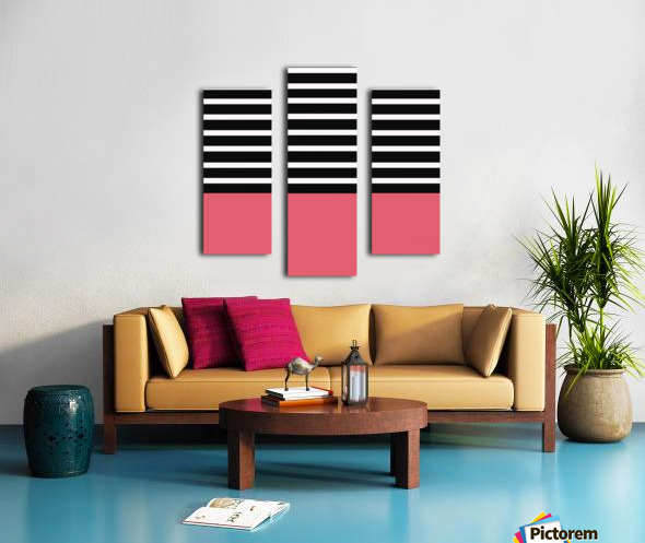 Black & White Stripes with Bitter Sweet Patch Canvas print