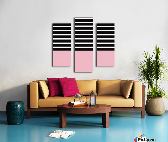 Black & White Stripes with Beauty Bush Patch Canvas print