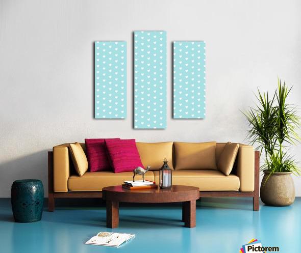 Light Blue Heart Shape Pattern Canvas print