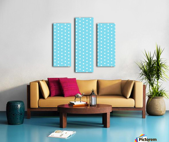 Sky Blue Heart Shape Pattern Canvas print