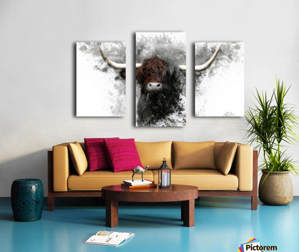 Highland Cow in Ink Impression sur toile