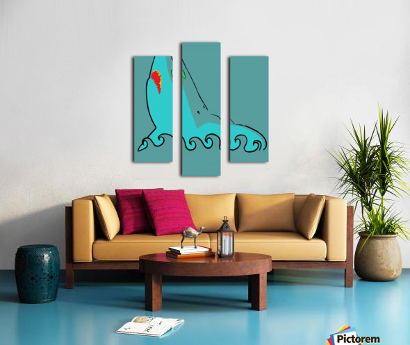 an abstract illustration of the blue shark head in blue background vector Canvas print