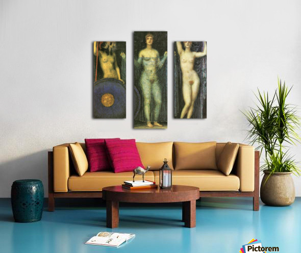 The three Goddesses Athena, Hera and Aphrodite by Franz von Stuck Canvas print