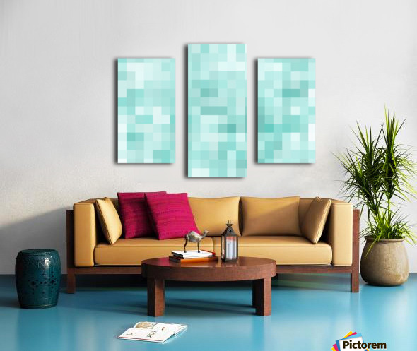 geometric square pixel pattern abstract in green Canvas print