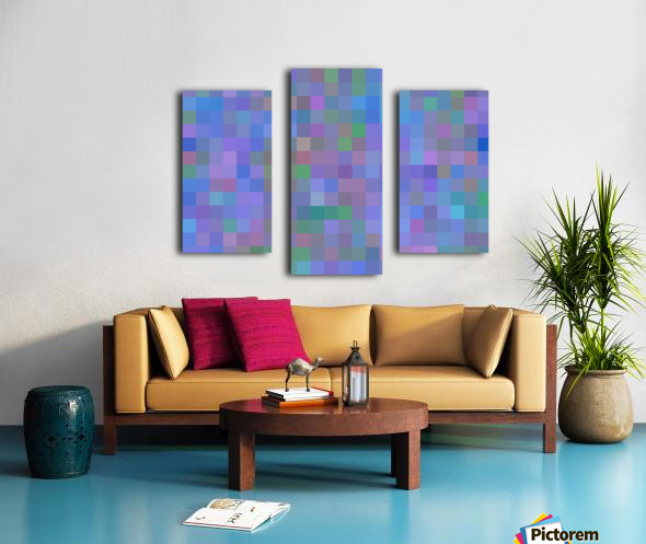geometric square pixel pattern abstract in purple blue pink Canvas print