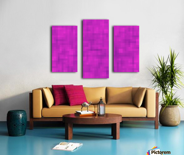 geometric square pixel pattern abstract in pink and purple Canvas print