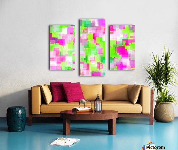 geometric square pattern abstract background in pink and green Canvas print