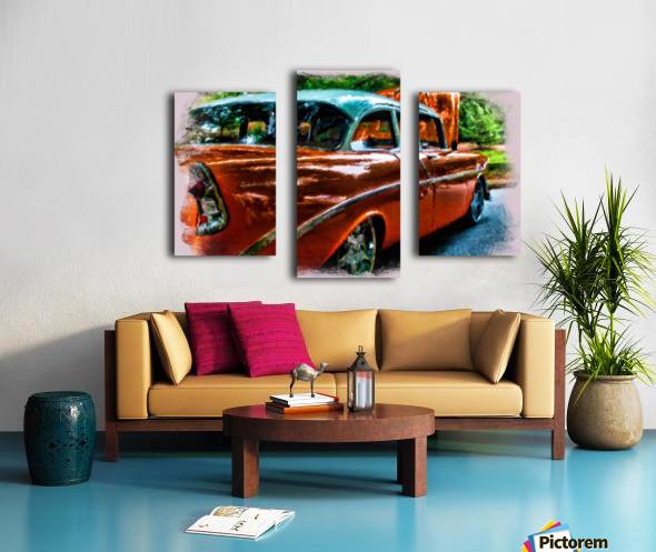 Classic Orange Car in Park Painting Canvas print