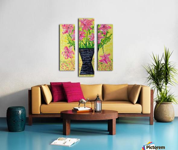 Pink Flowers in vase  Canvas print