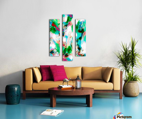 Waterfall vertical - multicolor abstract swirls Canvas print