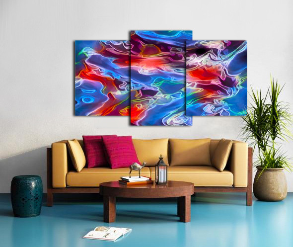 Blue Flames - multicolor abstract swirls Canvas print