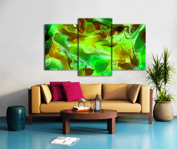 Emerald Field - green brown gold abstract swirls Canvas print