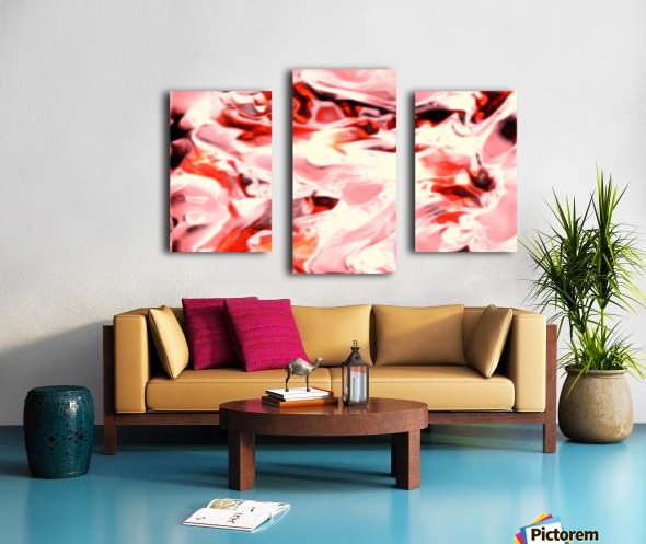 Super Charged - red orange pink abstract swirls wall art Canvas print