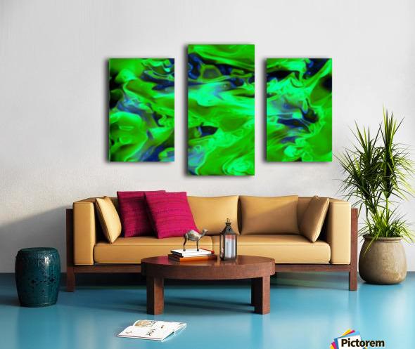 Gemphire - emerald green dark blue abstract swirls wall art Canvas print