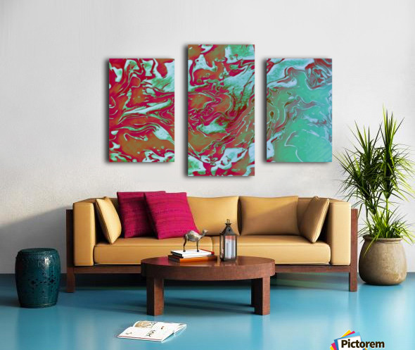 Fire and Ice - turquoise red gradient abstract swirl wall art Canvas print