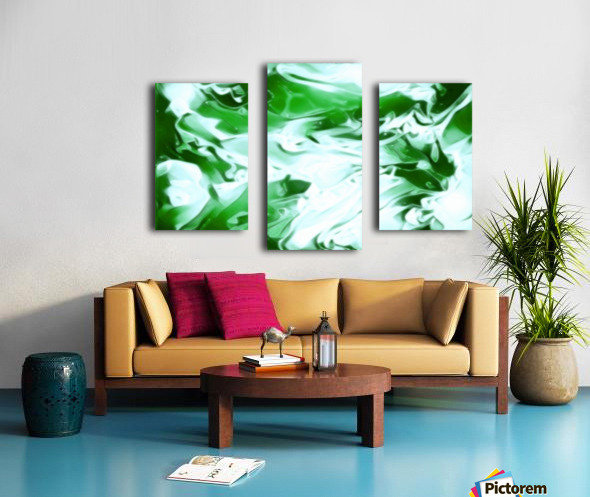 Clover - green white abstract swirl wall art Canvas print