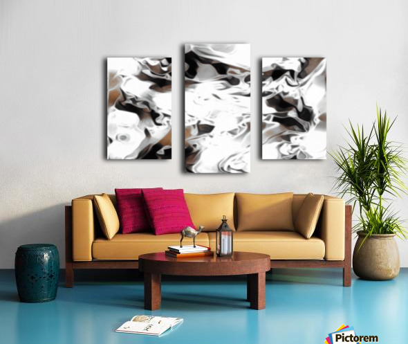 Brown Sugar & Coffee - brown grey white black swirls large abstract wall art Canvas print