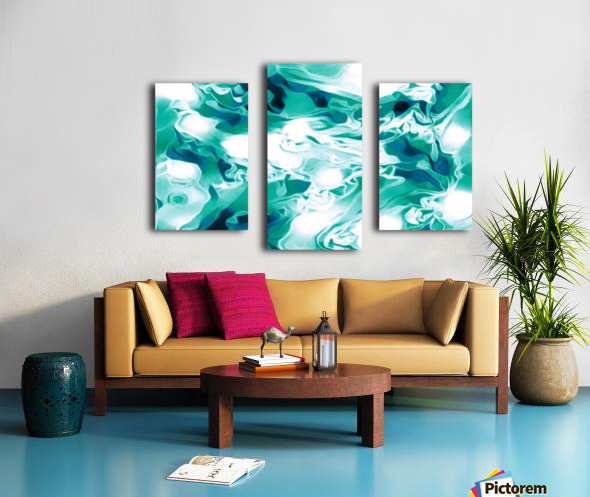 Mint Chocolate Chip Ice Cream - turquoise white blue black swirls large abstract wall art Canvas print