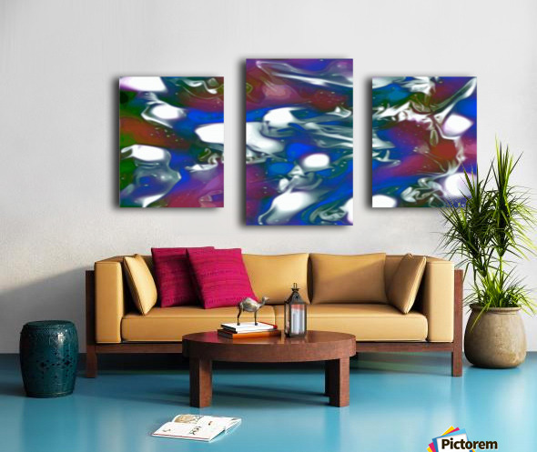 Morphing Dreams - blue green purple swirls and spots large abstract wall art Canvas print