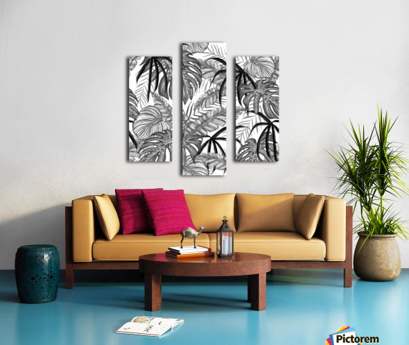 drawing leaves nature picture Canvas print