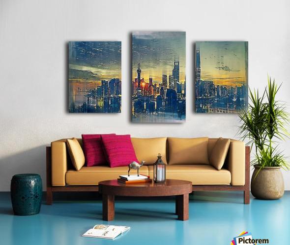 city metro pole buildings Canvas print
