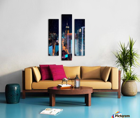 high rise buildings with lights Canvas print