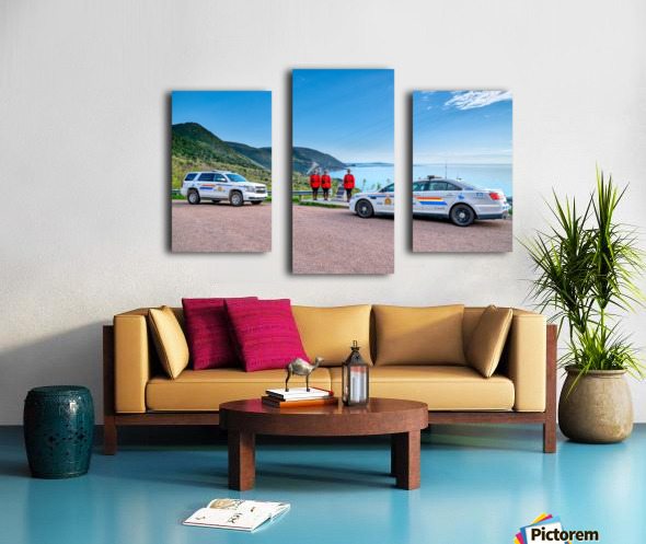 RCMP at ease with cruisers at French Mountain Monument Canvas print