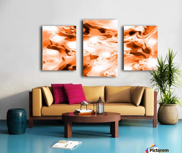 Orange Cream - orange black white swirls abstract wall art Canvas print