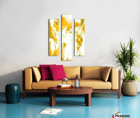 Abundant Aura - white gold swirls abstract wall art Canvas print
