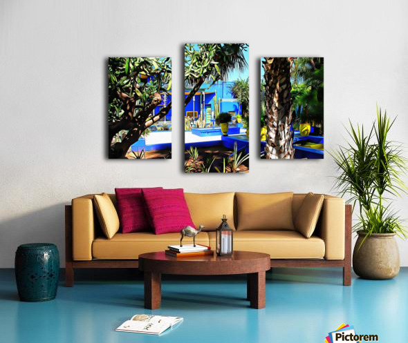Yellow and Blue Contrasts Jardin Majorelle Canvas print