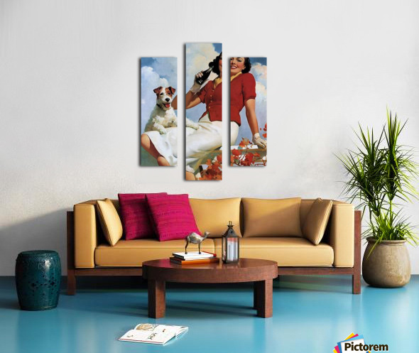 vintage poster soda woman and dog Canvas print