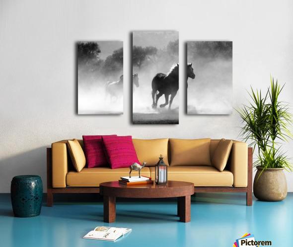 horse herd dust nature wild Canvas print