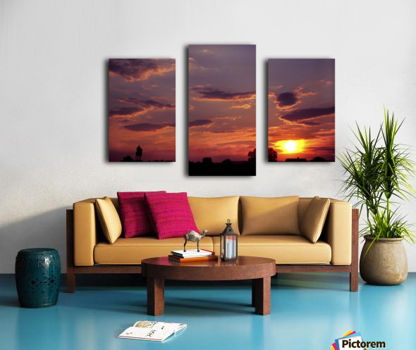 Manasas Battlefields Sunset With Statue Silhouette in left Corner Canvas print