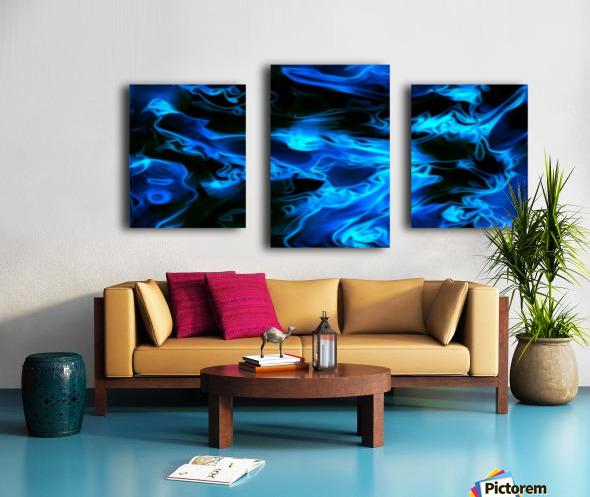 True Lightning - blue white black swirls abstract wall art Canvas print