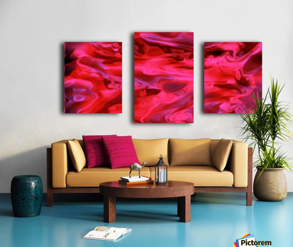 Red Field - violet black pink swirls abstract wall art Canvas print