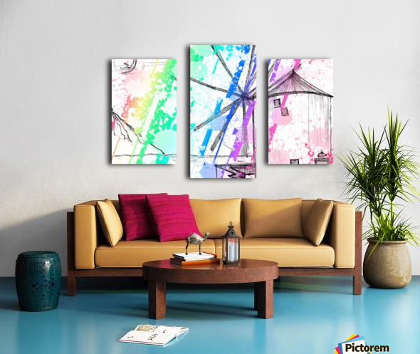 windmill art print multicolor 02 Canvas print