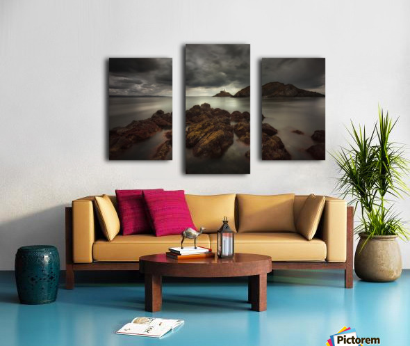 Storm clouds over Mumbles lighthouse Canvas print