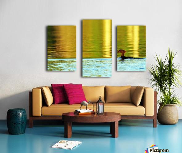 Merganser In Setting Sun Canvas print