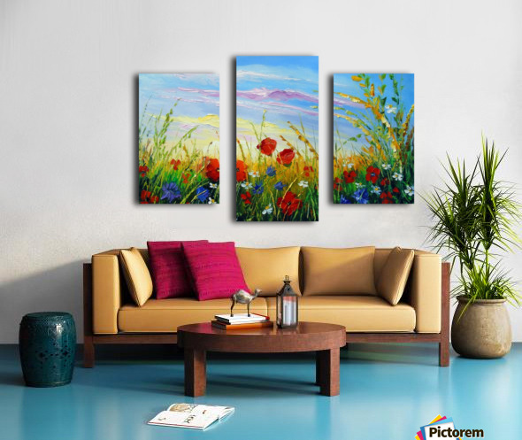 Summer flowers in the oil painting field Canvas print