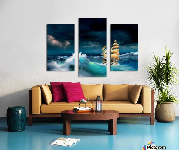 Hard way sailboat. sailing ship Canvas print