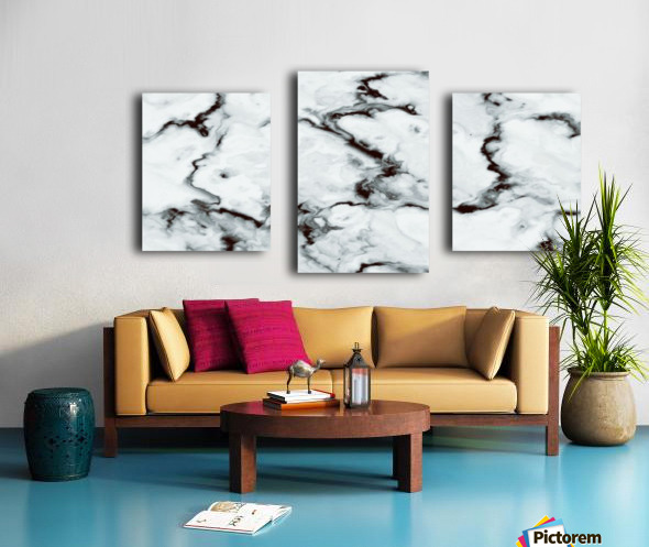True White Marble - panoramic abstract wall art Canvas print