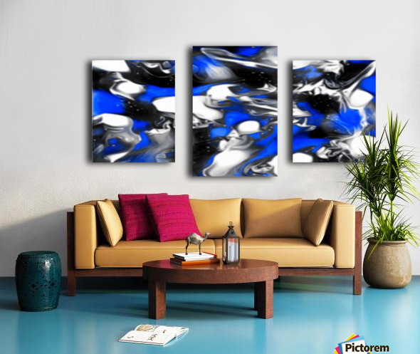 Booster - blue white black silver spots swirls abstract wall art Canvas print
