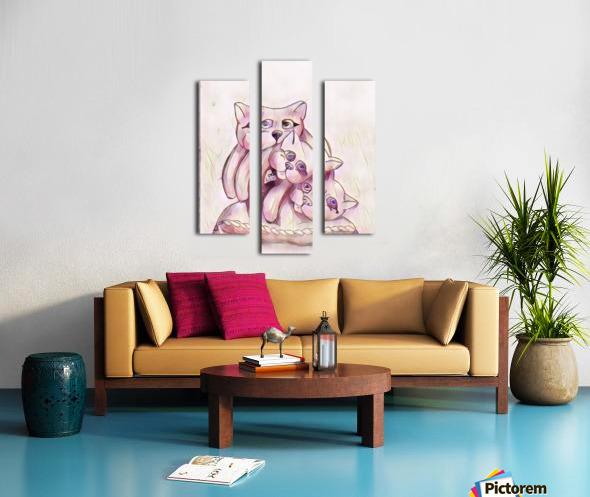 Chats sur coussin Canvas print