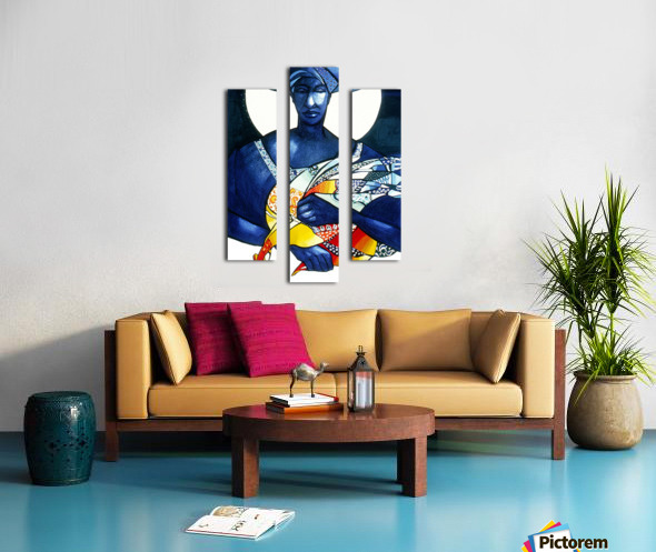 Blue Woman with a bird Canvas print